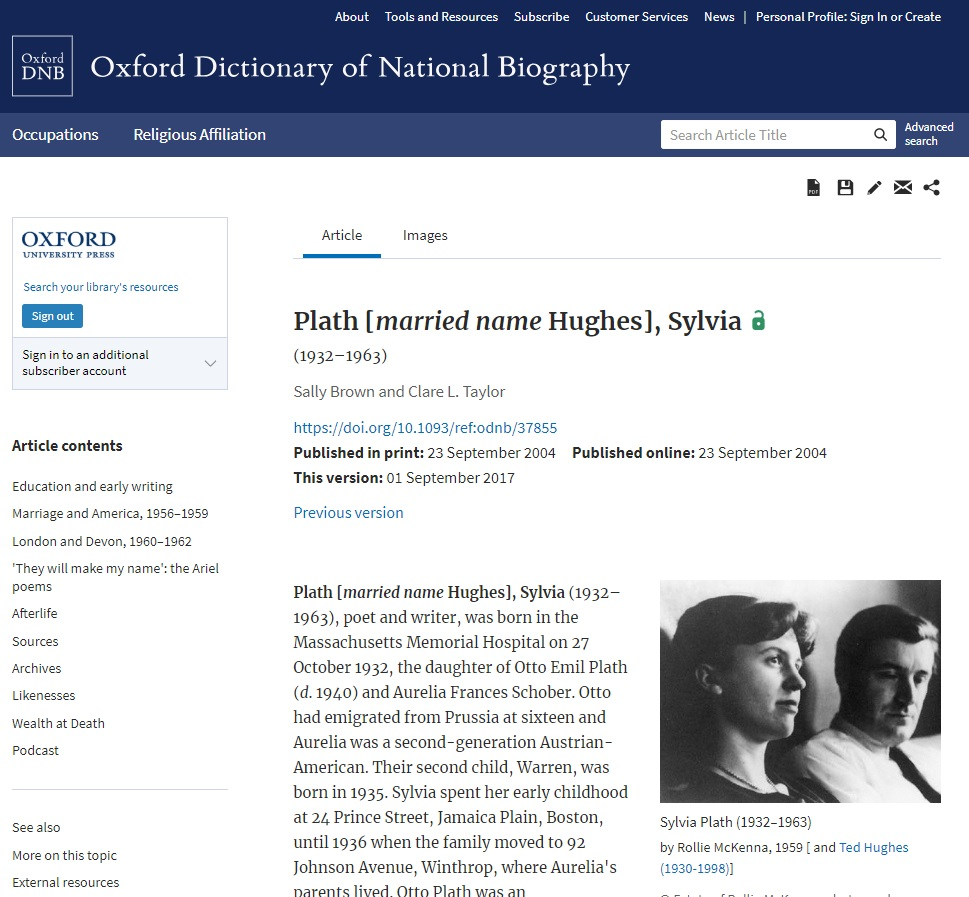ODNB article page Plath
