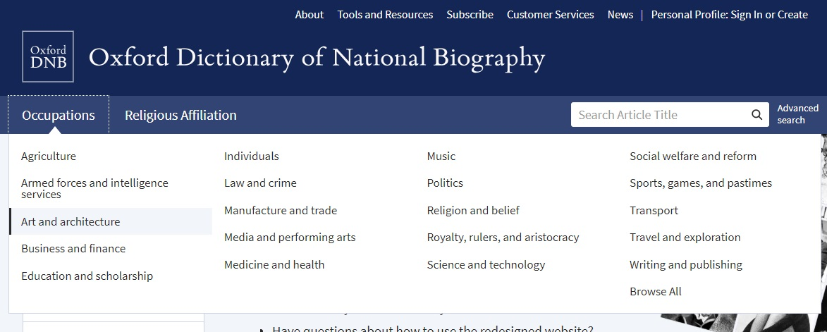 ODNB browse panel open