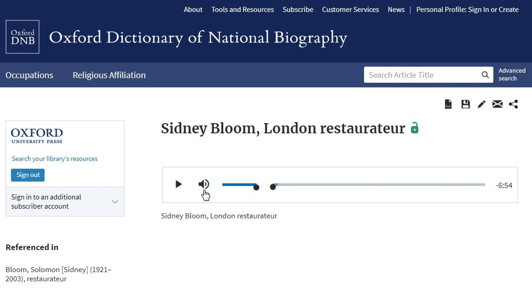 ODNB help article page Sidney Bloom podcast