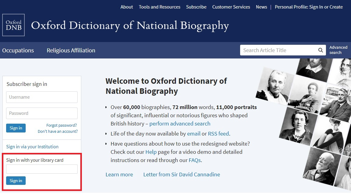 ODNB homepage library card