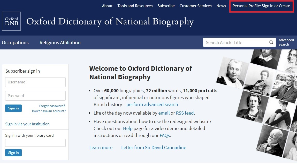 ODNB personal account