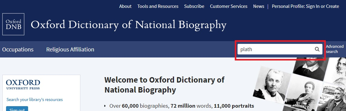 ODNB quick search