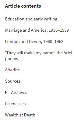 ODNB article page Plath contents