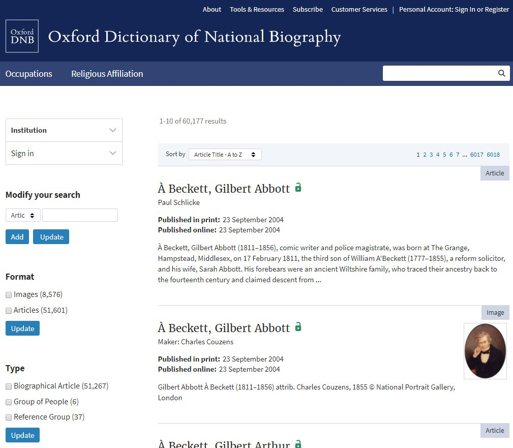 ODNB browse all results