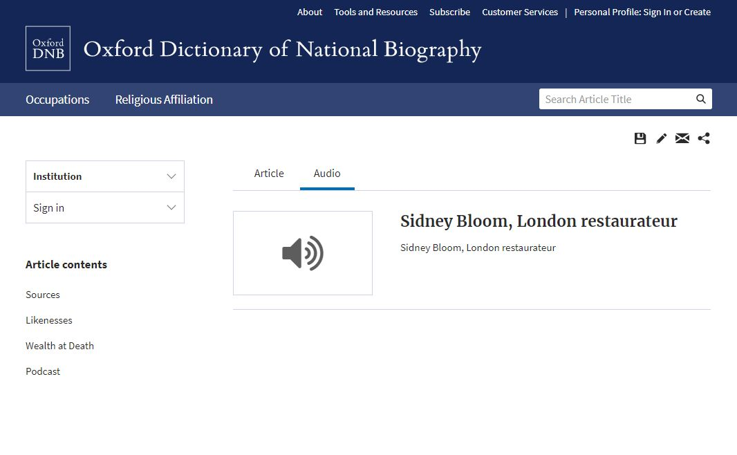 ODNB help article page SidneyBloom