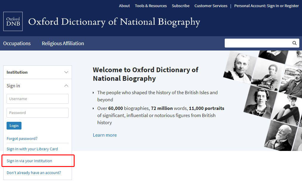ODNB homepage institution