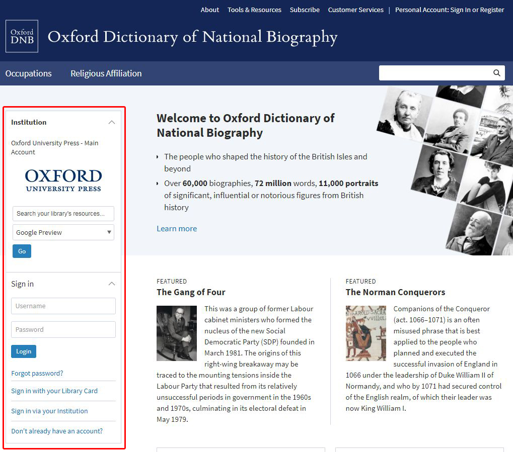 ODNB homepage sign in box