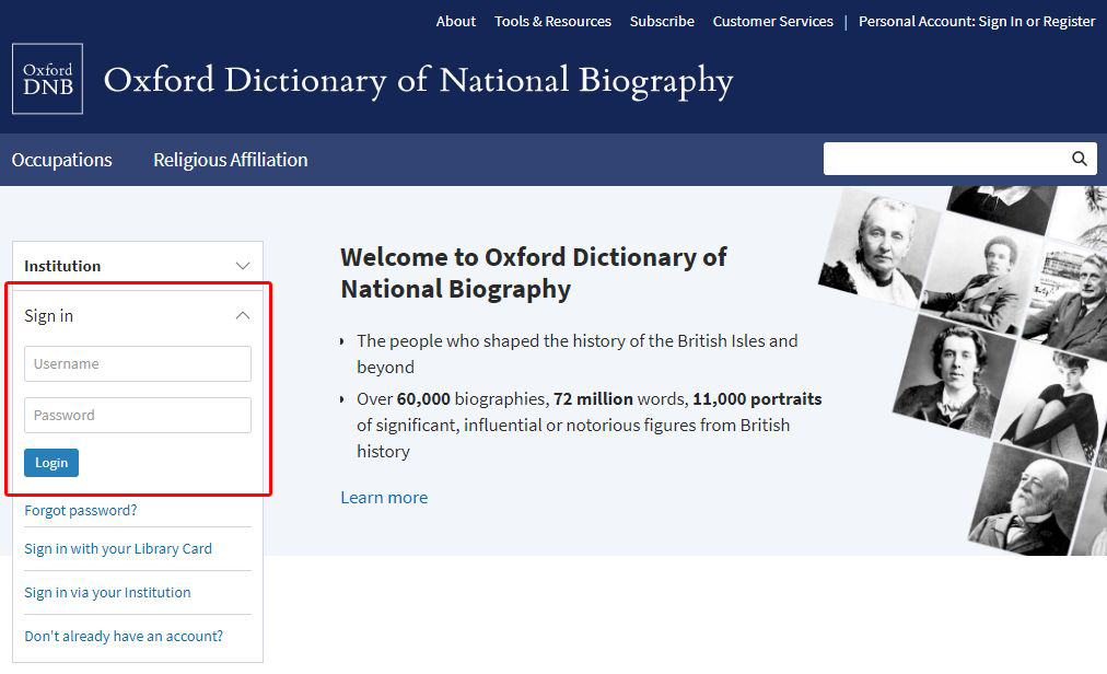 ODNB homepage username and password