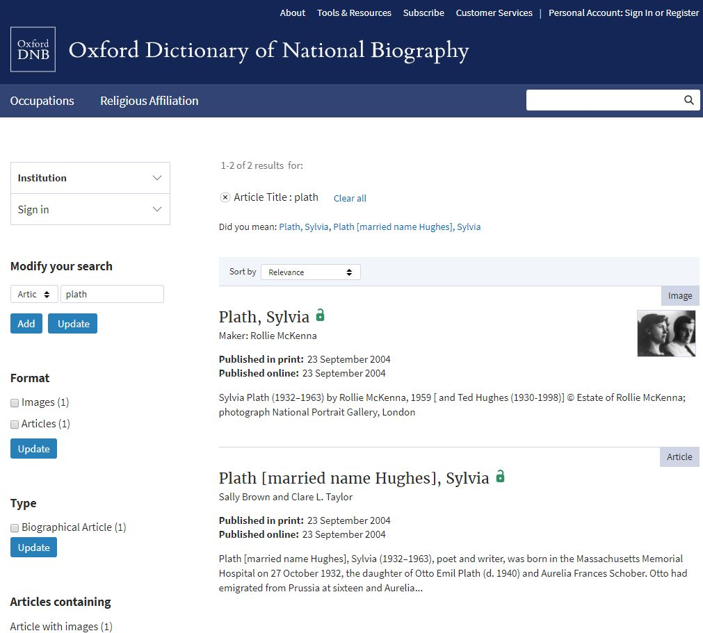 ODNB search results list