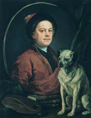 William Hogarth (1697–1764) self-portrait, 1745 [The Painter and his Pug] © Tate, London, 2004
